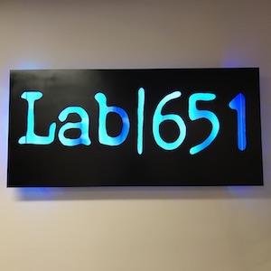 Lab 651 lobby sign