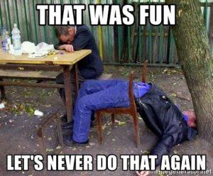 Broken Chair back drinking meme